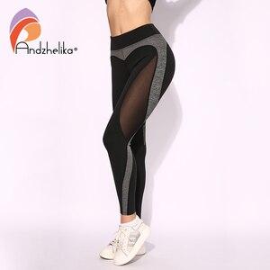 Image 2 - Andzhelika High Quality Mesh Running Sport Tights Women Mention Hip Gym Yoga Capri Pants Tummy Control Fitness Athletic Leggings