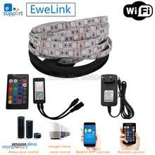 5m 12v 5050 flexível led strip conjunto fita rgb + 24key ir controle remoto alexa google controle de voz em casa (ewelink app) + power