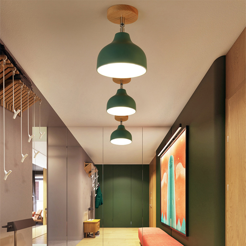 Blue Vintage Edison Industrial Flush Mount Ceiling Light Glass Shape Ceiling Lamp Light Fixture For Hallway