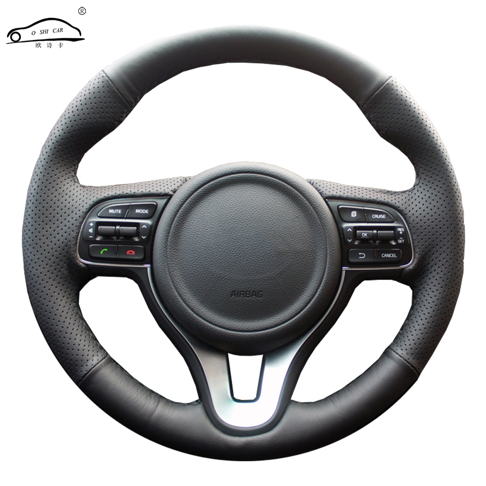 Genuine Leather car steering wheel Cover for Kia K5 2016 2017 Sportage 4 KX5 2016 2017/dedicated Steering-Wheel Handlebar Braid image