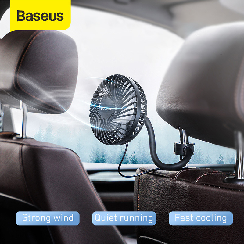 Baseus Car Fan 360 Degree Rotating Air Vent Conditioner Cooling Fan Auto Backseat Air Vent USB Cooling Fan Auto Mini USB Fan