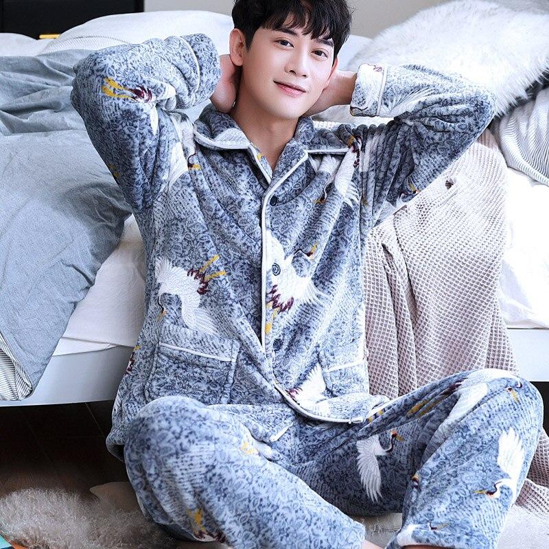 H5898 Sleepwear Young Men Pajamas Set Thick Flannel Cute Homewear Male Coral Velvet Large Size Long Sleeve Winter Warm Nightwear