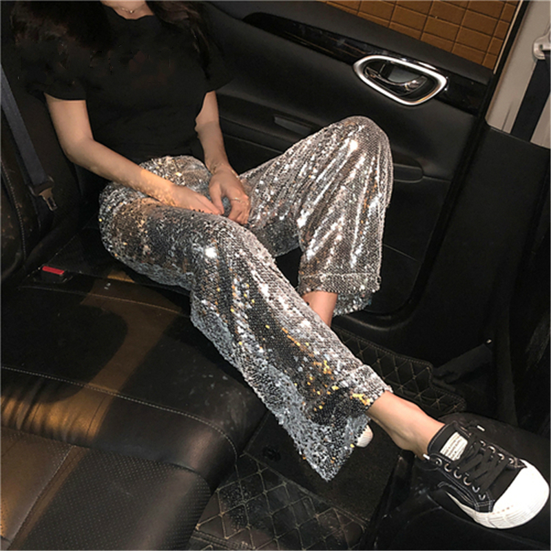 Women solid   pants   sequined glitter loose   wide     leg     pants   slim hip hop 2019 new arrival special fashion female sexy cool