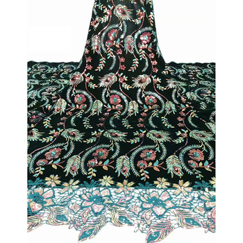 Latest Wonderful feather of peacock tail pattern design with colorful sequins B8V25 beautiful velvet lace material dress Fabric