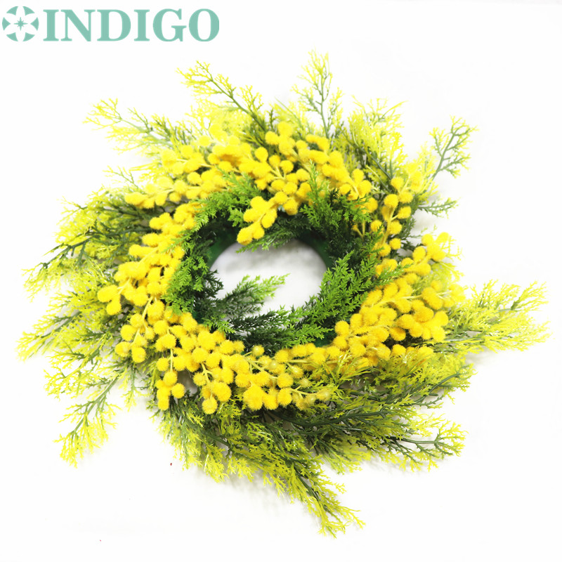 INDIGO-Exclusive Sales -Door Hunging Yellow Mimosa Christmas Wreaths Flower String Table Centerpiece Wedding Party Free Shipping