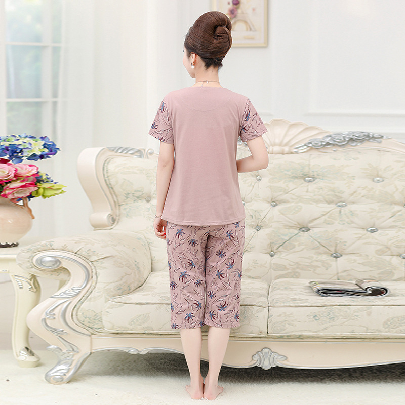 Peach Scent Pure Cotton Nightgown Female Summer Thin Short Sleeve Loose-Fit Middle-aged Mom Summer Middle Aged And Elderly Peopl