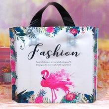10 шт/лот толстые пластиковые пакеты для покупок с фламинго