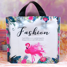 Tote-Bag Flamingo Plastic Clothing Packaging Handle Gift with Thick Boutique 10pcs/Lot