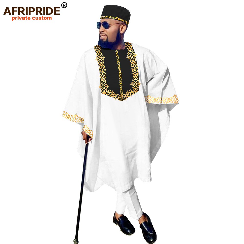 African Clothing For Men Dashiki Outfits Agabada Robe Ankara Pants Tribal Hat Wedding Evening 3 Piece Suit AFRIPRIDE A2016007