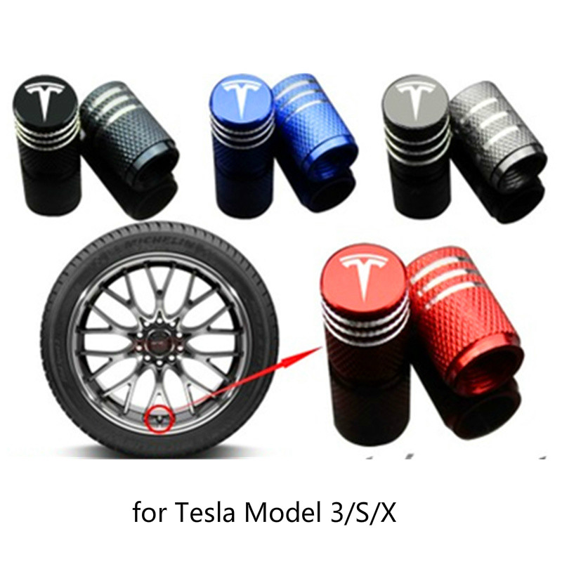 For TESLA Model 3/X/S Car Tire Cap Metal Alloy Wheel Valve Tyre Dust Caps Car Tire Cover For Tesla Accessories Car Styling Gifts