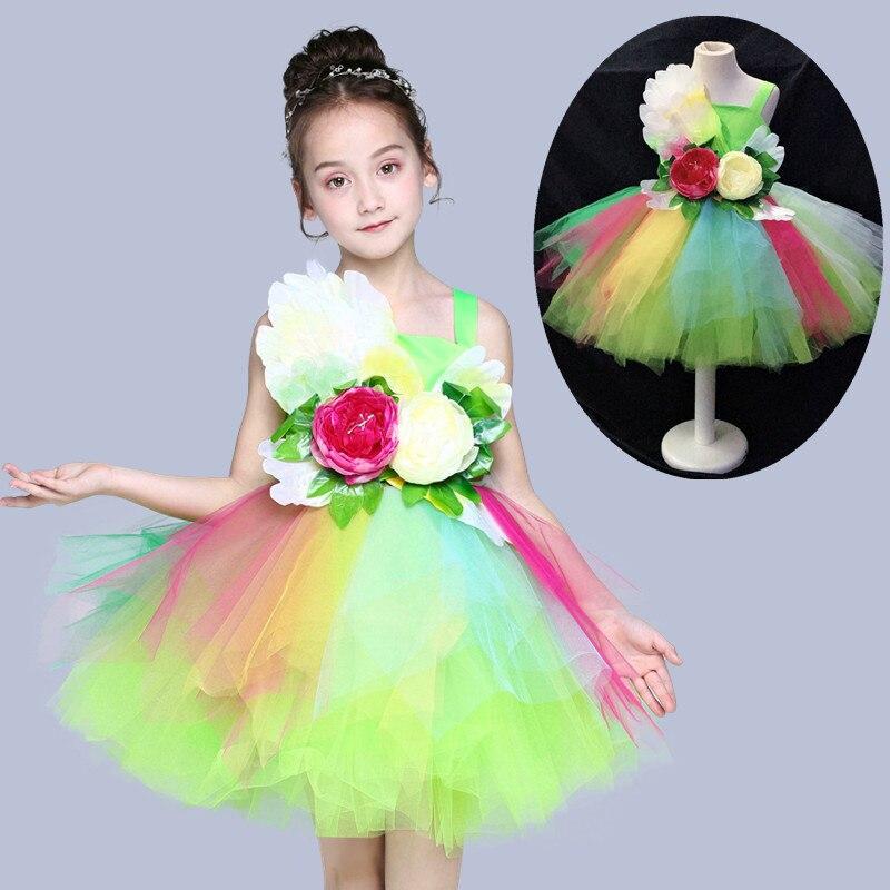 Платье для танцев сальсы с цветными цветами для девочек; пикантный современный танцевальный костюм для девочек; Одежда для танцев; детская одежда для соревнований - Цвет: see chart