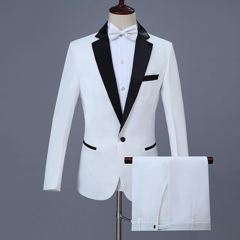 Gentleman Slim Fit Suit Stage Singers Men's Classic White Blazer Suits Wedding Groom Tuxedo Prom Dress Party Tuxedo Suits