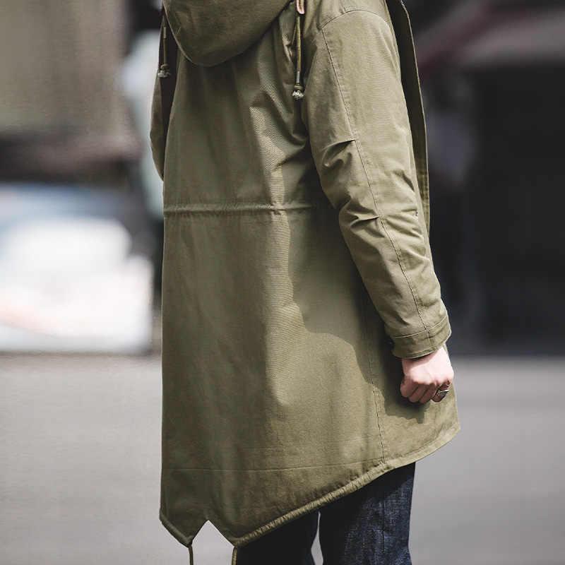 Мужская Толстая с капюшоном Тяжелая флисовая линия M-51 рыбий хвост парка куртка пальто оливковый зеленый