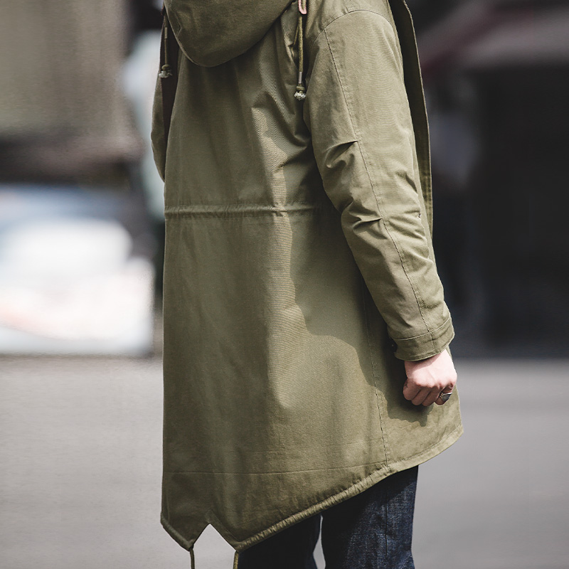 Men's Thick Hooded Heavy Fleece Line M-51 Fishtail Parka Jacket Coat Olive Green