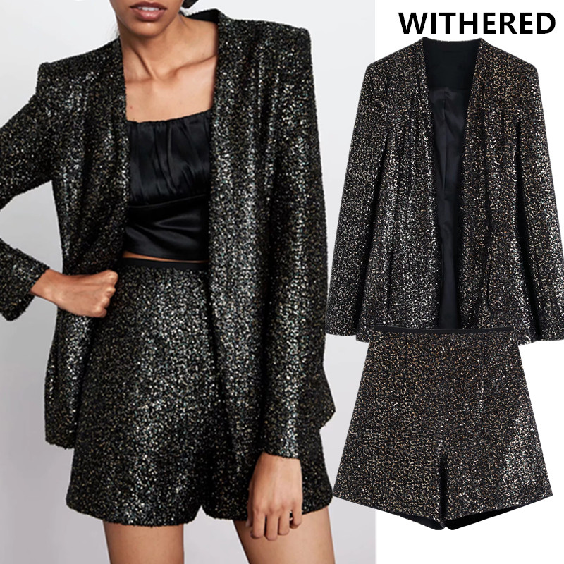 Withered England Style Vintage Sexy Sequins Christmas Suit Blazer Feminino Blazer Women Shorts Women Short Feminino 2 Pieces Set