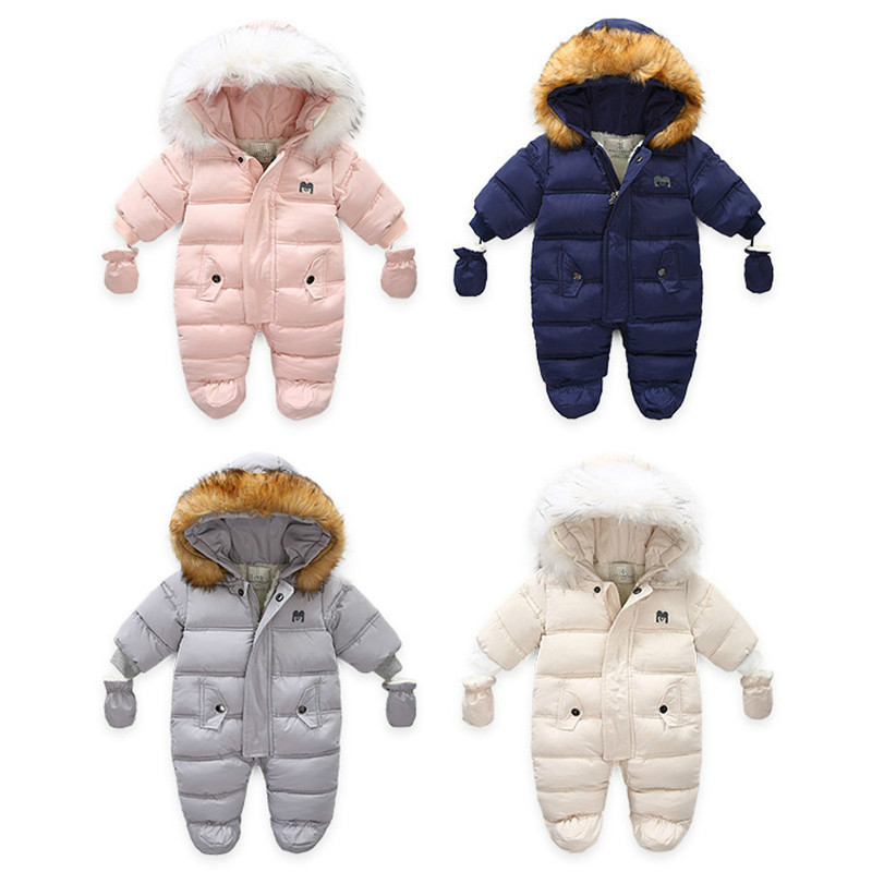 Infant Baby Jumpsuit Thick Warm Hooded Inside Fleece Boy Girl Winter Autumn Overalls Children Outerwear Kids Snowsuit