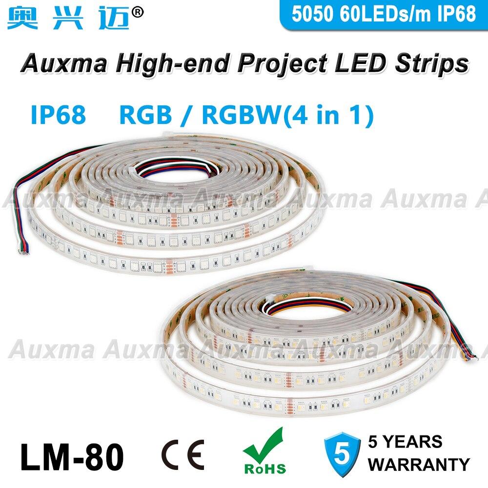 5050 LED bande RGB/RGBW 4in1 60LED s/m IP68 300LED s/bobine, 5 mètres/bobine DC12V/24 V Silicone extérieur étanche CRI90, pour bain jardin