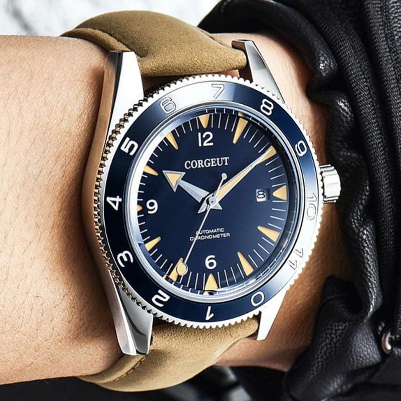 Corgeut 럭셔리 브랜드 seepferdchen 군사 기계식 시계 남자 자동 스포츠 디자인 시계 가죽 기계식 손목 시계 41mm-에서기계식 시계부터 시계 의  그룹 1