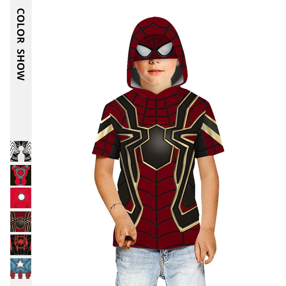 Summer Children's Hooded T-shirt Kids Spider Superhero's Tops 3D Print Boy Girl's Short Sleeve Shirts Child Loose Sport Hoodies