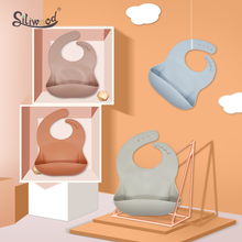 Waterproof Baby Silicone Bibs Feed Newborn Bib With Food Catcher Feeding Washable Environmentally Solid Rearing Childen's Goods