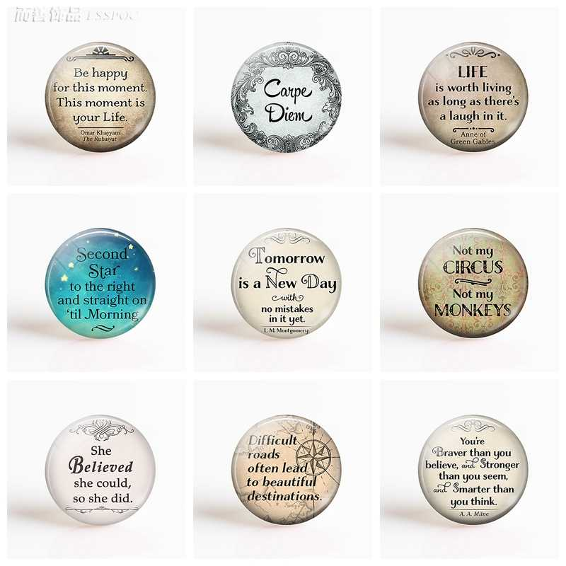 5 stks/partij Inspirational Quotes 25mm Glas Cabcohon Patroon Plaksteen Camo DIY Cabochon Dome Sieraden voor Sleutelhanger Pedant Ketting