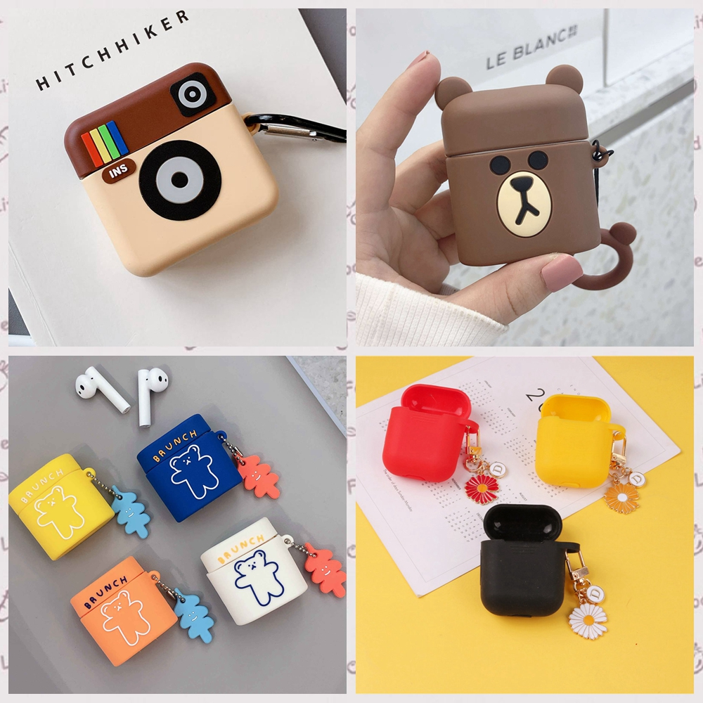 For Xiaomi Airdots Pro 2 Case Flower Keyring Lovely Cartoon Mini Camera Pattern Silicon Case For Xiaomi Mi Air 2 Earphone Cover
