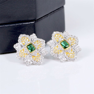 Image 3 - CMajor S925 Solid Sterling Silver High end Delicate Vintage Temperament Elegant Flower Shape Two Tone Stud Earrings for Women