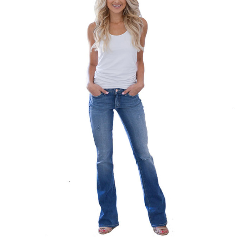 Sexy Jeans Woman Plus Size Vintage Wide Leg Slim Full Length Low Blue Jean For New Women Denim Full Length