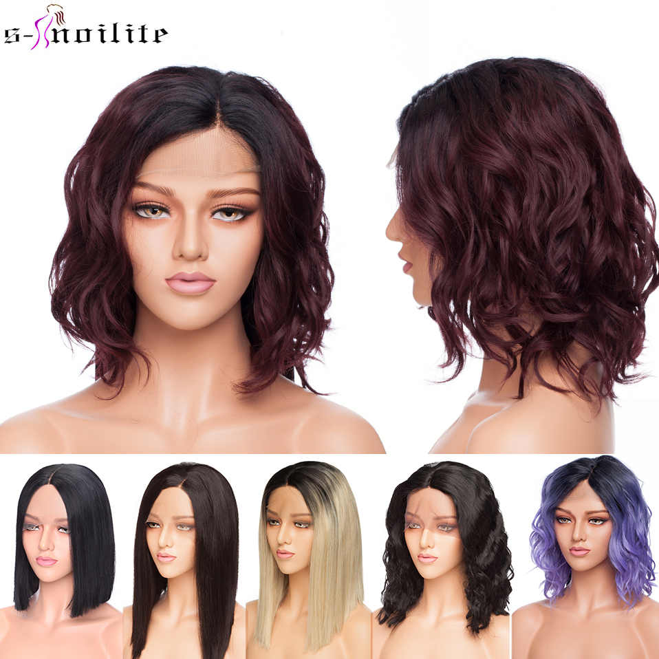 SNOILITE Short Ombre Bob U Part Lace Front Wig Synthetic Free Lace Part 12.5*3 Lace Front Wig Bob Wavy Hair Wigs For Women