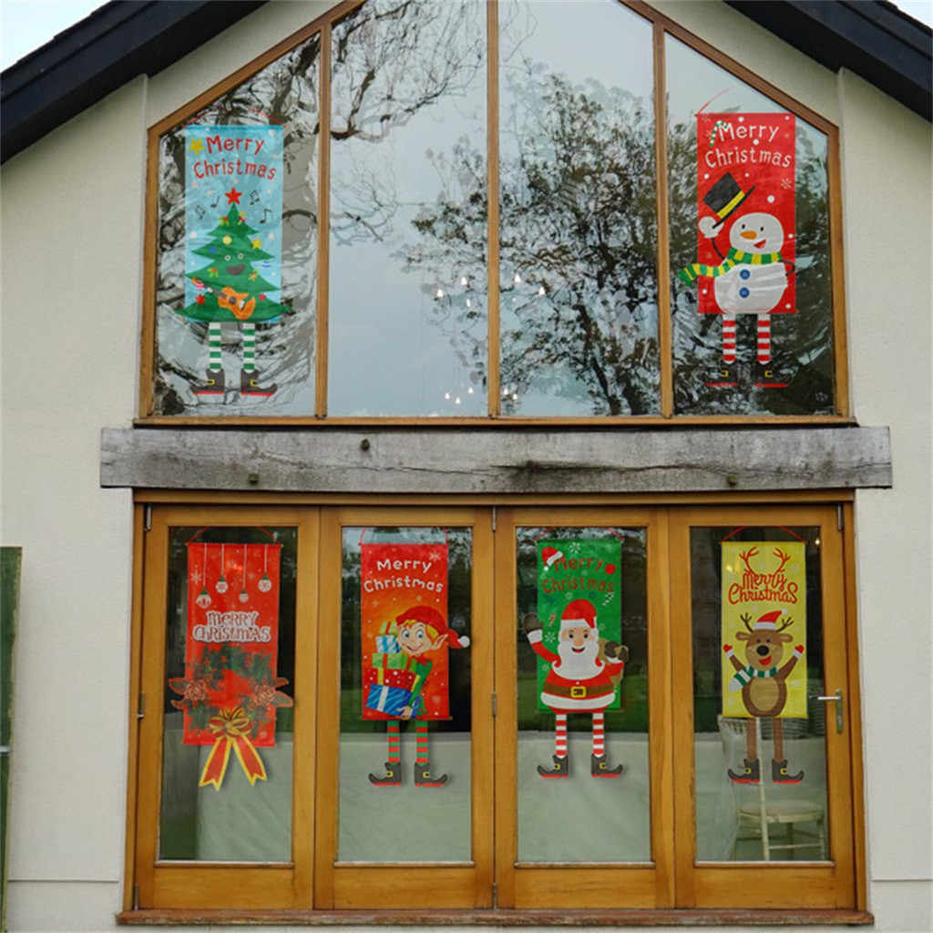 Merry Christmas Ornament Santa Claus Banner Flag Door Window Hanging Xmas Decor Christmas Day Party Home Decoration