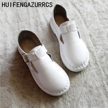 HUIFENGAZURRCS-Genuine Leather shoes,Womens Artistic Pure Handmade Sandals Retro-vintage Soft Bottom Lady Cowskin Flat shoes