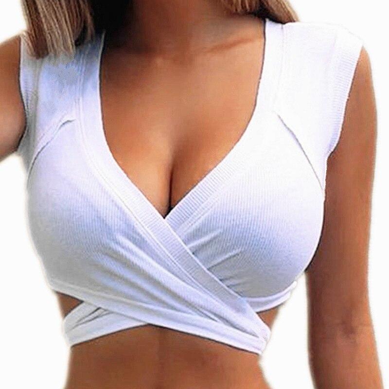 Сексуальные майки, женский укороченный топ с V-образным вырезом, базовые короткие женские камзол, белые, черные летние эластичные футболки, ...