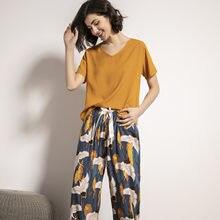 Roupa de dormir feminina casual, pijama de manga curta estampado, respirável, sólida, casual