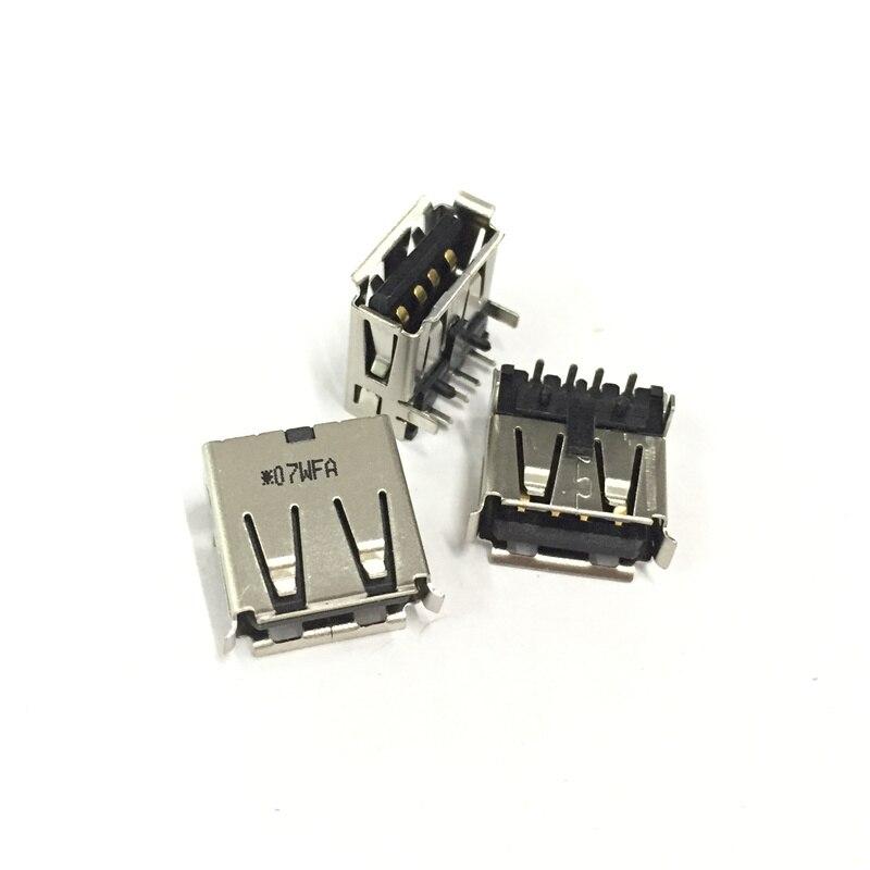 10pcs USB 2.0 4Pin A Type Female Socket Connector 2 Feet 90 Degree Data Transmission Charging Plug