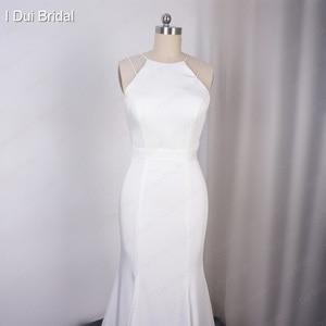 Image 3 - פשוט קרפ שמלות כלה באיכות גבוהה סאטן נדן Keyhole חזור ייחודי כלה שמלה
