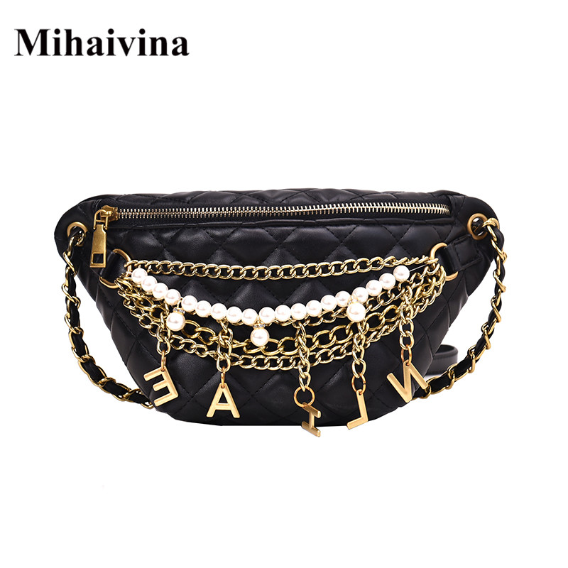 Mihaivina Women Belt Bag Pearl Waist Bag Ladies Leather Fanny Pack Handy Chain Belt Pack Girl Chest Bag Crossbody Shoulder Bag