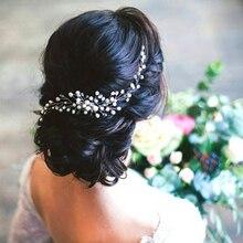 Свадебная заколка для волос для невесты с бусинами и цветами ручной работы украшение для волос женские аксессуары для волос модная Корейск...