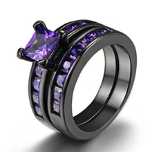 2pcs/Set Luxury Purple Zircon Rings Set For Womens Accessories Girls Black Ring Female Jewelry Party Wedding Gift Size 5-12#