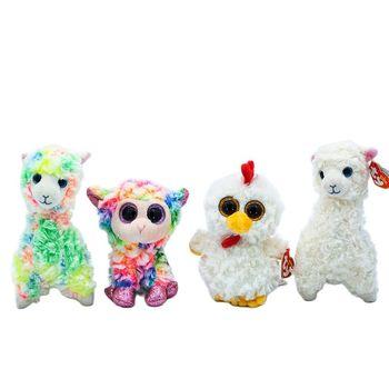 Nowy 6 #8222 15cm Ty wielkie oczy grochu aksamitny kolor alpaki biały baranek Oh Oh kurczak zabawka w kształcie zwierzątka kolekcjonerska lalka chłopiec prezent urodzinowy dla niej tanie i dobre opinie CN (pochodzenie) Tv movie postaci COTTON 13-24m 25-36m 4-6y 7-12y 12 + y Genius Animal Lalka pluszowa nano Miękkie i pluszowe