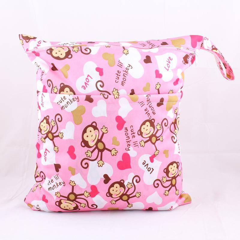 Paradise Genuine Product Double Zipper Printed Snap Closure-Diaper Bag Waterproof Bag-Pink Monkey