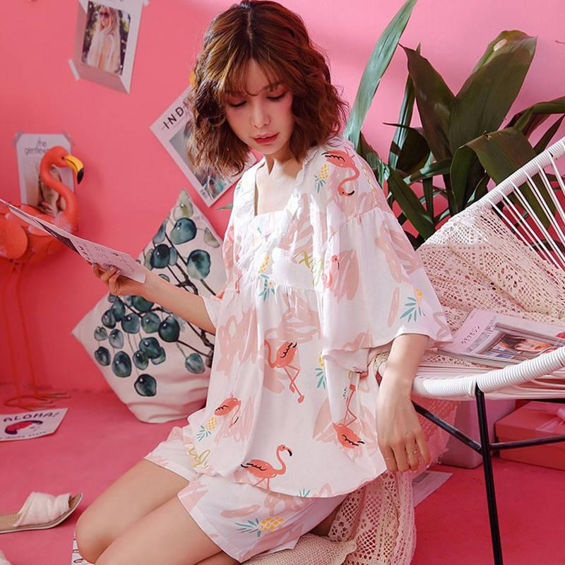 Pajimas For Women Cartoon Print Sleepwear Kawaii Pajama Set Summer Female Nightgown Ladies Plus Size Nightwear Homewear