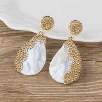 Offre spéciale mode coquille de mer goutte boucles d'oreilles or argent couleur CZ pendentif Dangle boucle d'oreille pour Femal bohème plage d'été bijoux