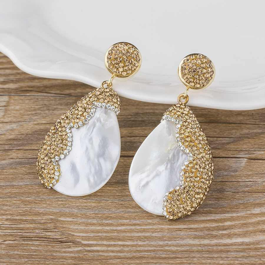 Hot Sale Fashion Sea Shell Drop Earrings Gold Silver Color CZ Pendant Dangle Earring For Femal Bohemian Beach Summer Jewelry