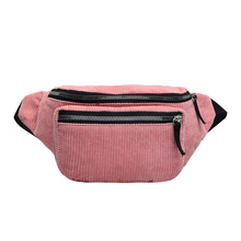 Belt waist Bag Women New Leisure Solid Color Panelled Zipper Corduroy Messenger Chest Waist Packs For Ladies
