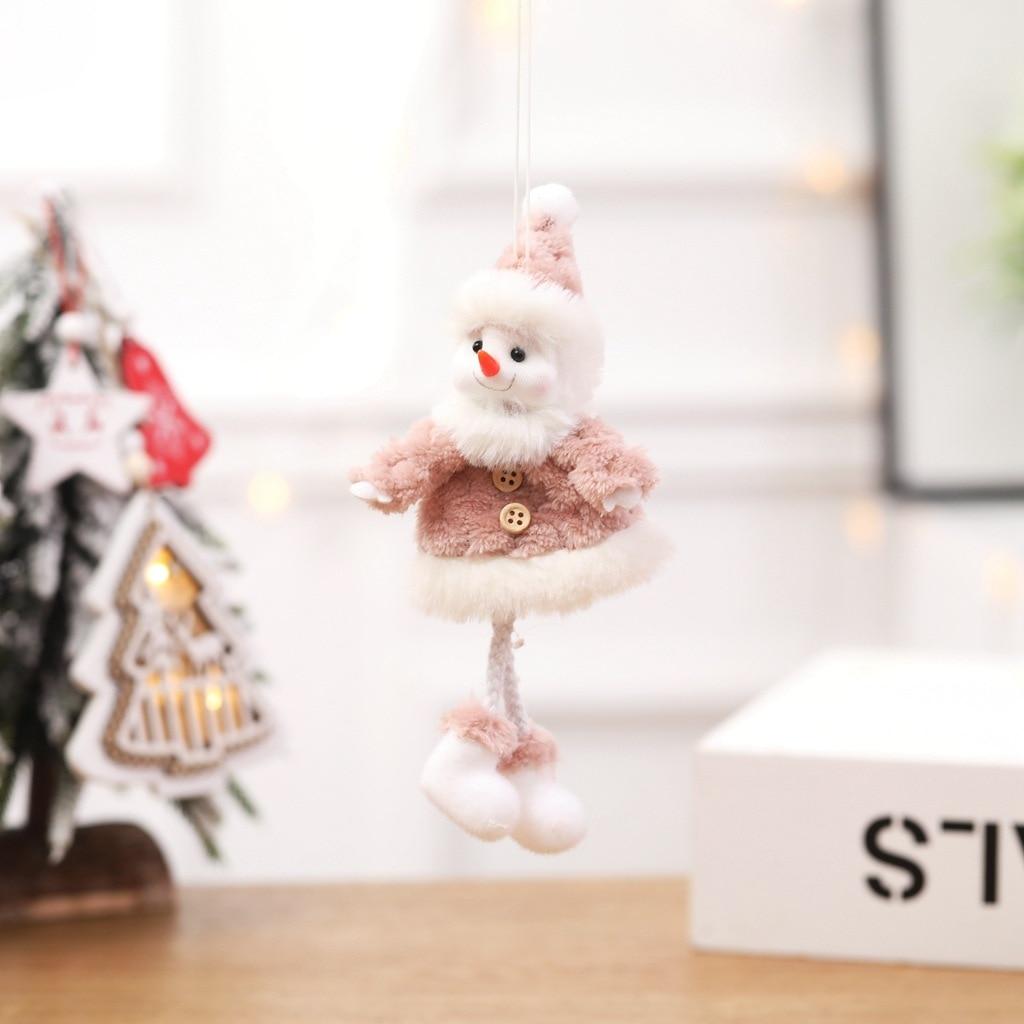 8 pièces décorations de noël créatif joyeux arbre de noël ornements en peluche père noël poupées décoration bonhomme de neige ornements artisanat - 3