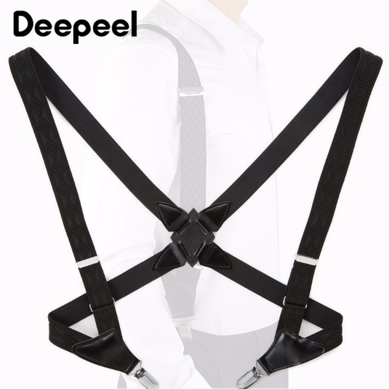 Deepeel 1pc 2.5*105cm Classic Strap Elastic Band 2 Clip Side Clip Men's Suspender  Belt Adult Strap Harness Accessories SP072