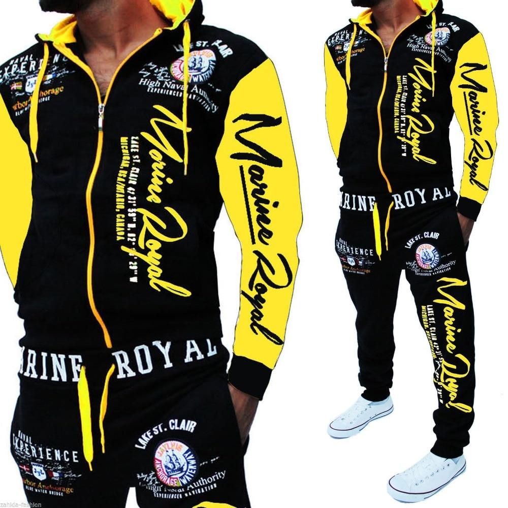 Men Track Suit Hooded Jacket Sweatsuit Mens Sports Suits Brand New Sportwear Men Jogger Set Printed Tracksuit Men Clothes 2018