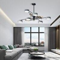 Nordic Modern Wooden Led Ceiling Chandeliers Light Lamp for Loft Living Room Bedroom Hall Round Black 110v 220v Green Gray