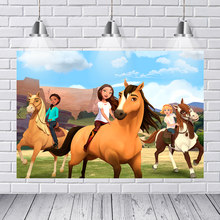 Aniversário fotografia pano de fundo espírito cavalo rancho montanha céu personalizado foto estúdio foto fundo vinil