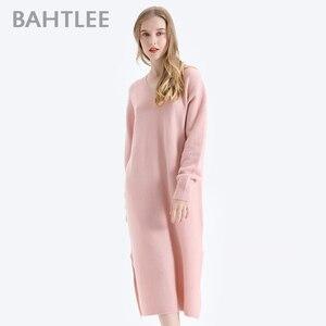 Image 3 - Bahtlee女性ヤクベルベットプルオーバーセーター秋冬ウールニットジャンパー長袖vネックルーズスタイル